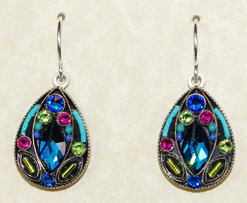 "FIREFLY EARRINGS LARGE DROP-BERMUDA BLUE: multi color stones in 3/4"" silver setting, wire backs"