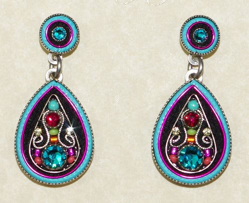 "FIREFLY EARRINGS ARABESQUE LARGE DROP-MC: multi color stones in 1.25"" silver setting, post backs"