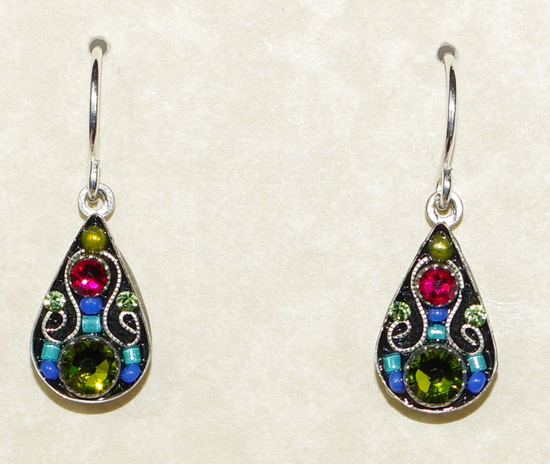 "FIREFLY EARRINGS ARABESQUE SMALL DROP-OLIVINE: multi color stones in 1/2"" silver setting, wire backs"