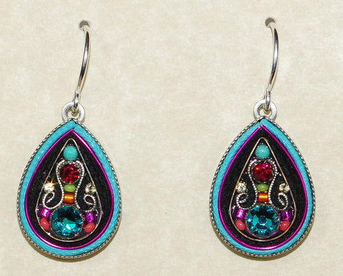 "FIREFLY EARRINGS ARABESQUE LARGE DROP-MC: multi color stones in 3/4"" silver setting, wire backs"