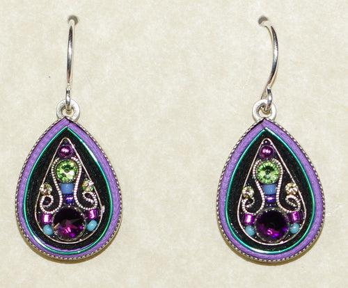 "FIREFLY EARRINGS ARABESQUE LARGE DROP-AMETHYST: multi color stones in 3/4"" silver setting, wire backs"