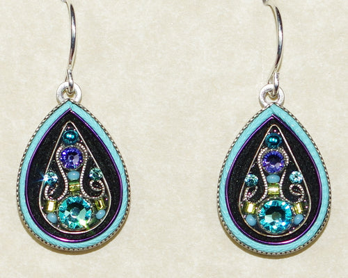 "FIREFLY EARRINGS ARABESQUE LARGE DROP-LIGHT TURQ: multi color stones in 3/4"" silver setting, wire backs"