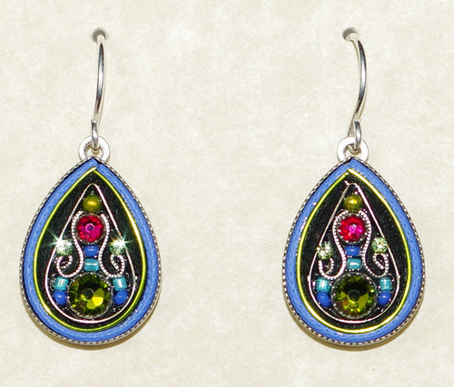 "FIREFLY EARRINGS ARABESQUE LARGE DROP-OLIVINE: multi color stones in 3/4"" silver setting, wire backs"