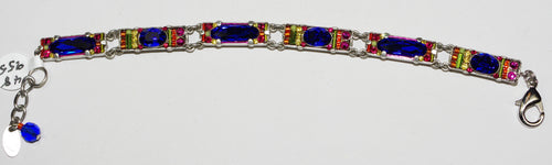FIREFLY BRACELET BAR-ROYAL BLUE: multi color stones in silver setting