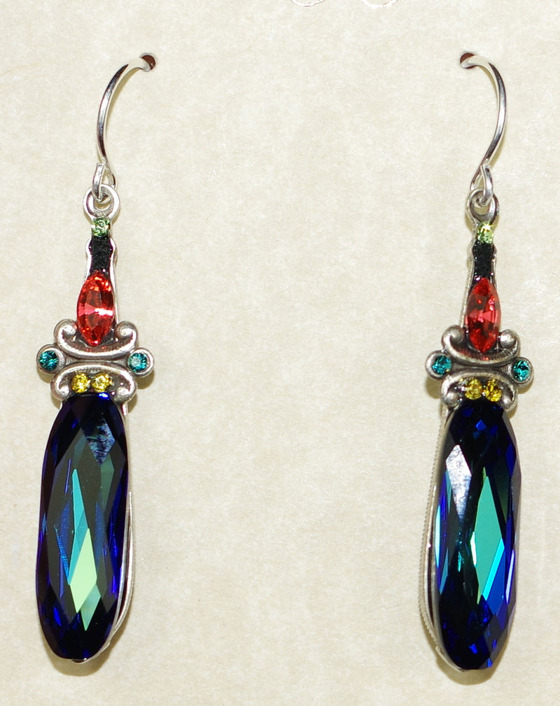 "FIREFLY EARRINGS LARGE CRYSTAL DROP-INDI: multi color stones in 1.25"" silver setting, wire backs"