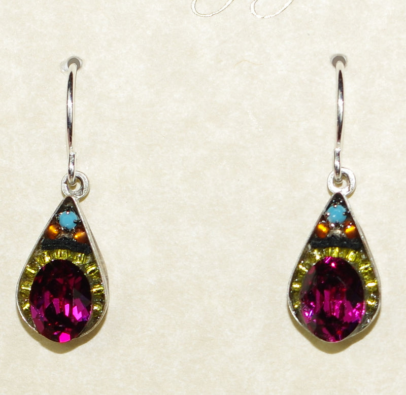 "FIREFLY EARRINGS CRYSTAL DROP-FH: multi color stones in 1/2"" silver setting, wire backs"