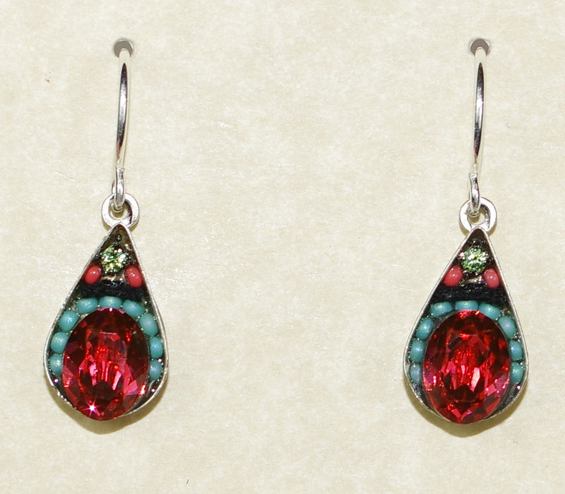 "FIREFLY EARRINGS CRYSTAL DROP-PADPARADSCHA: multi color stones in 1/2"" silver setting, wire backs"
