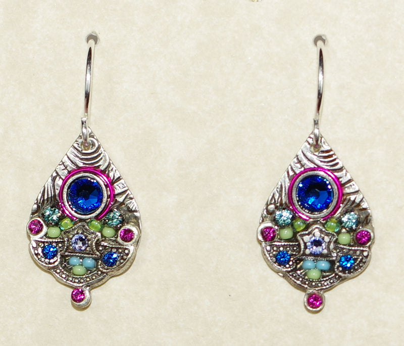 "FIREFLY EARRINGS MOSAIC DETAIL DROP BB: multi color stones in 3/4"" silver setting, wire backs"