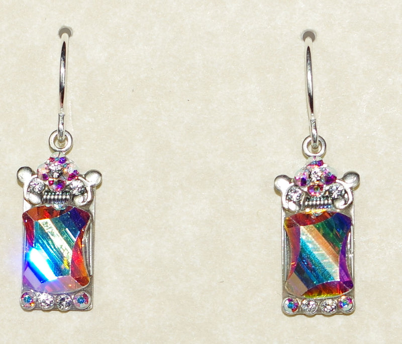 "FIREFLY EARRINGS MOSAIC MIRROR C A/B: a/b stones in 1/2"" setting, french wire backs"