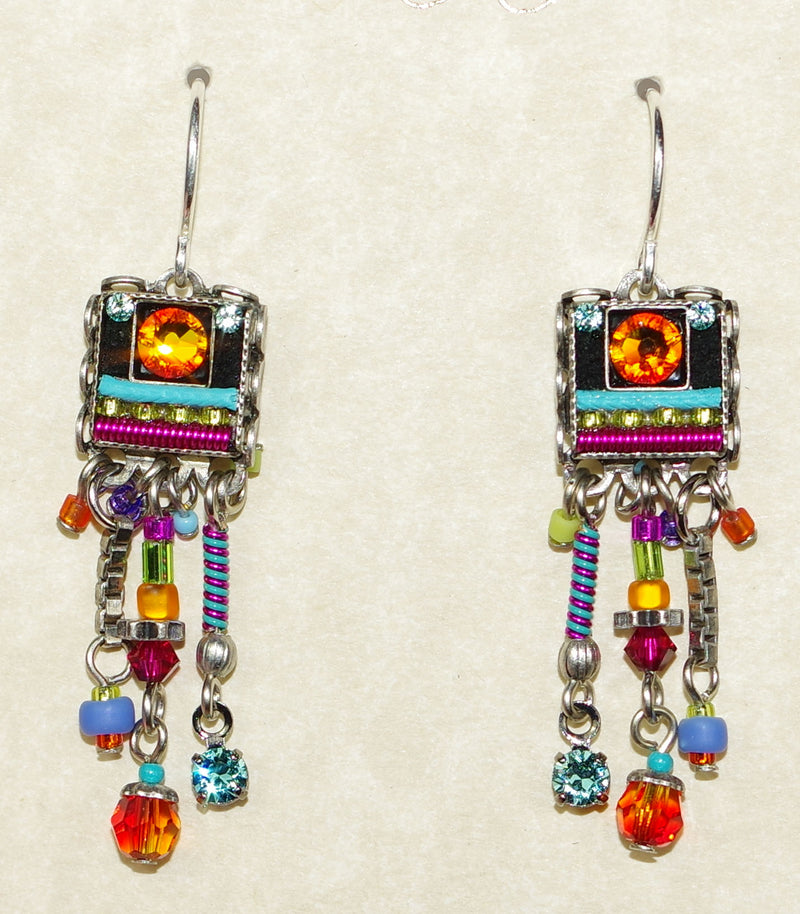 "FIREFLY EARRINGS MILANO LONG FRINGE MC: multi color stones in 1.25"" silver setting, wire backs"