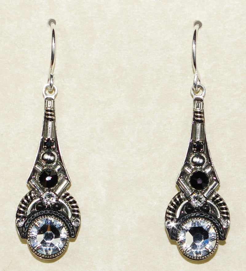 "FIREFLY EARRINGS ART DECO DROP B/W: black, clear stones in 1.25"" silver setting, wire backs"