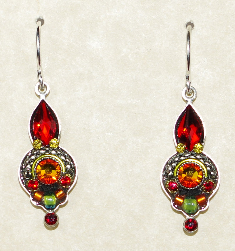 "FIREFLY EARRINGS ROUND DROP-RED: multi color stones in 3/4"" silver setting, wire backs"