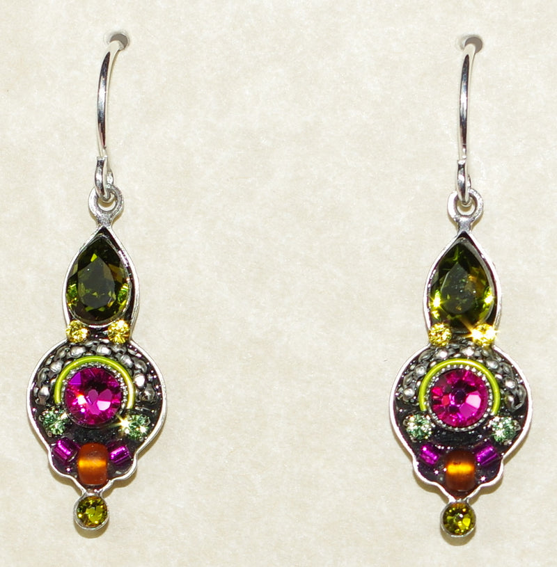 "FIREFLY EARRINGS ROUND DROP-OLIVINE: multi color stones in 1"" silver setting, wire backs"