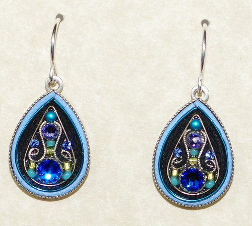 "FIREFLY EARRINGS ARABESQUE LARGE DROP-BERMUDA BLUE: multi color stones in 3/4"" silver setting, wire backs"