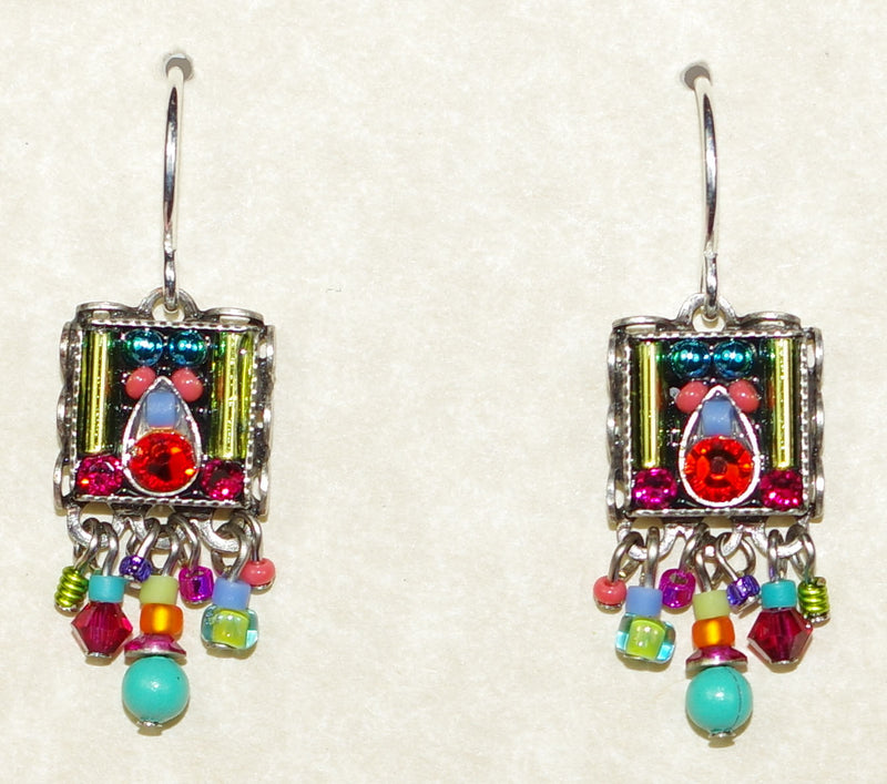 "FIREFLY EARRINGS SQUARE FRINGE MC: multi color stones in 3/4"" silver setting, wire backs"