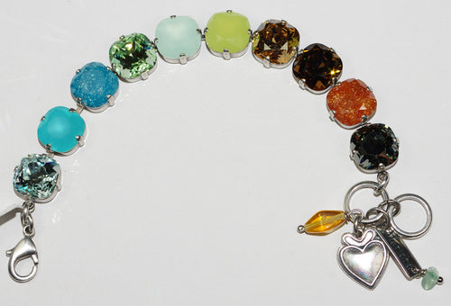 MARIANA  BRACELET FORGET ME NOT: amber, brown, blue, pacific opal stones in silver setting