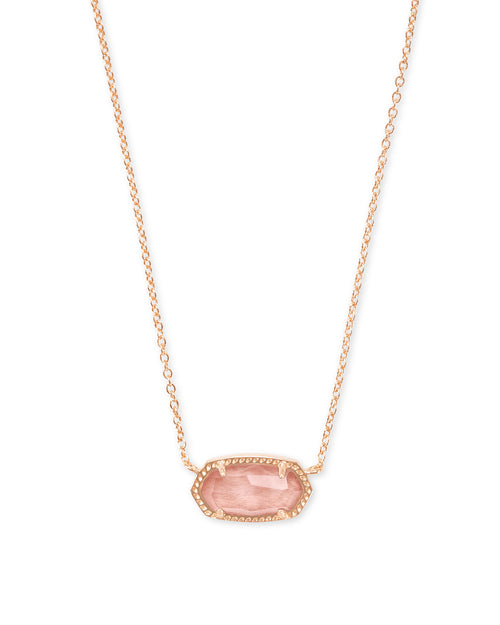 KENDRA SCOTT NECKLACE ELISA ROSEGOLD BLUSH WOOD