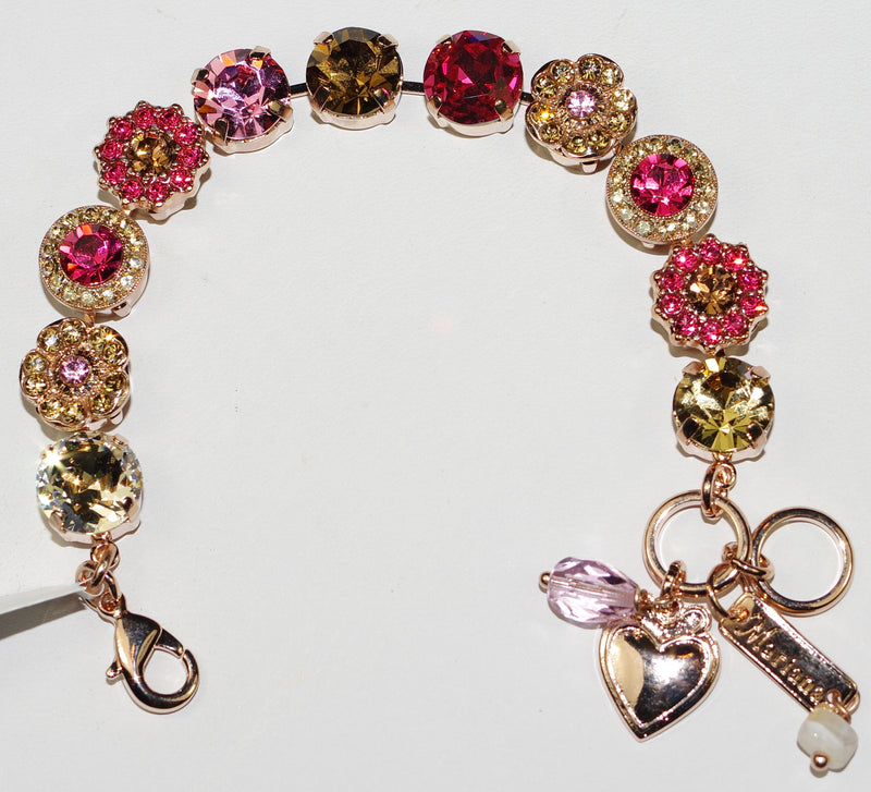 MARIANA BRACELET GINGERBREAD:  pink, amber stones in rosegold setting
