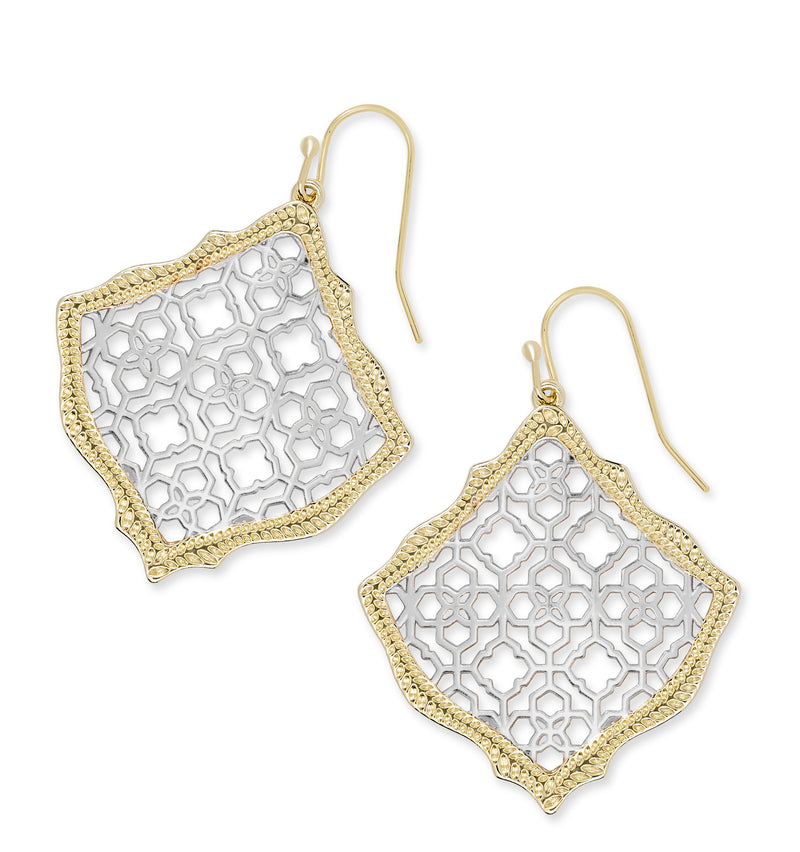 KENDRA SCOTT EARRINGS KIRSTEN GOLD-RHODIUM FILIGREE MIX