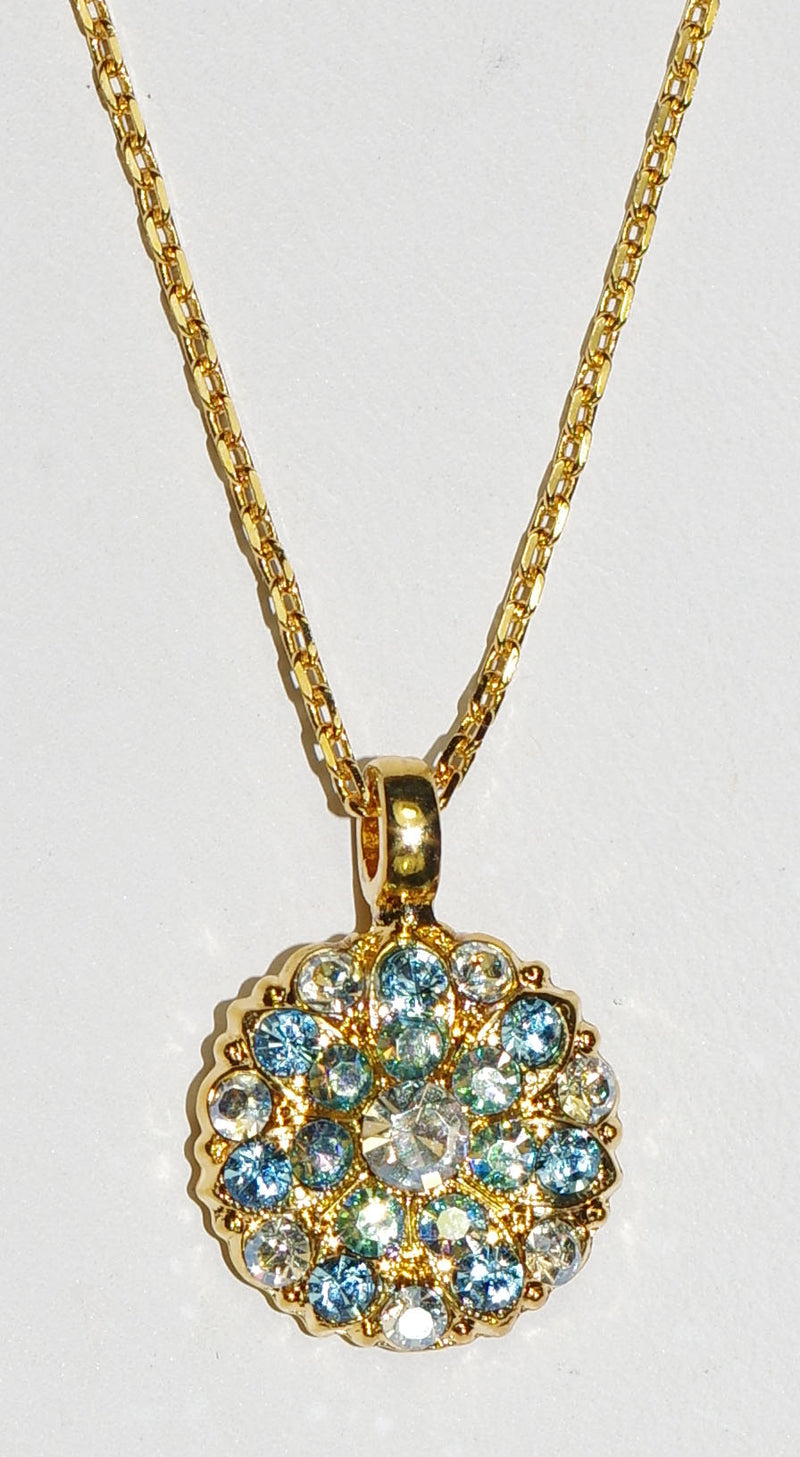 "MARIANA ANGEL PENDANT ITALIAN ICE: blue, a/b stones in yellow gold setting, 18"" adjustable chain"