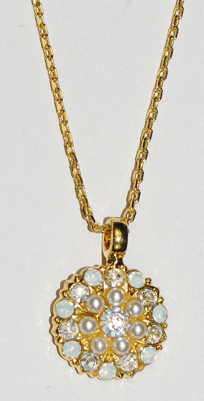 "MARIANA ANGEL PENDANT BERMUDA: clear, pearl, white stones in yellow gold setting, 18"" adjustable chain"