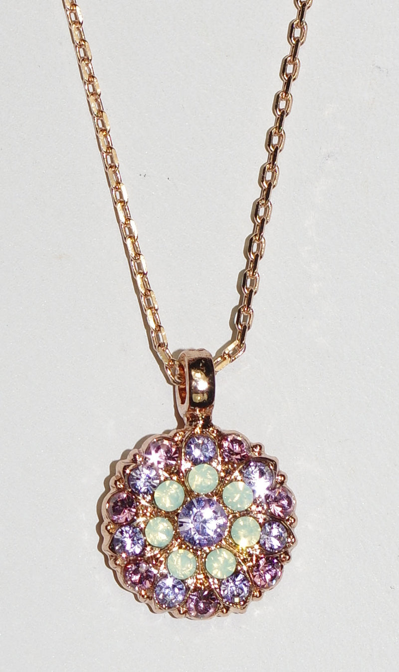 "MARIANA ANGEL PENDANT LAVENDER: lavendar, pacific opal stones in rose gold setting, 18"" adjustable chain"
