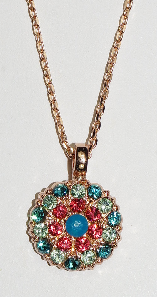 "MARIANA ANGEL PENDANT BIRD OF PARADISE: salmon, teal, green stones in rose gold setting, 18"" adjustable chain"