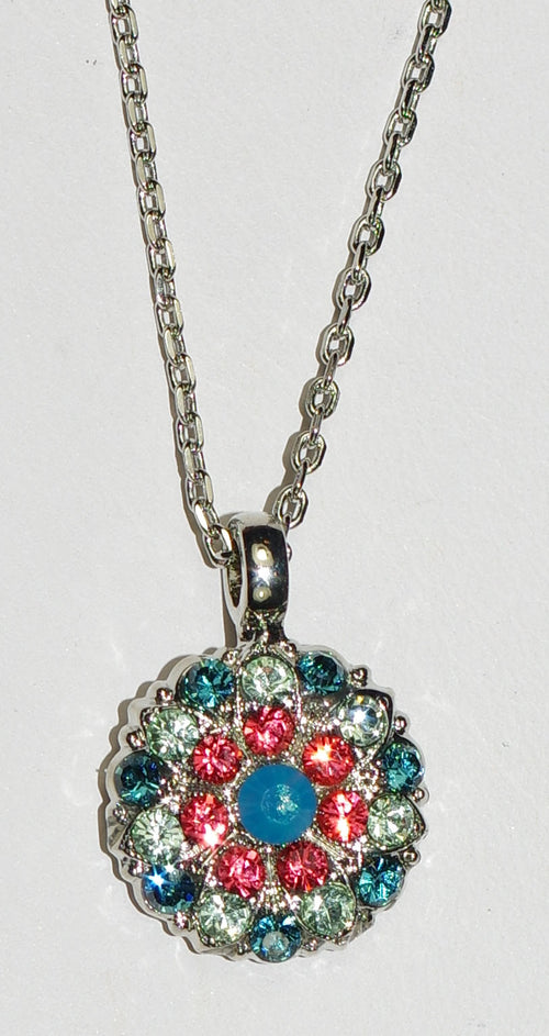 "MARIANA ANGEL PENDANT BIRD OF PARADISE: teal, green, salmon stones in rhodium setting, 18"" adjustable chain"