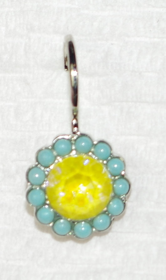 "MARIANA EARRINGS POPPY SUN KISSED: blue, yellow ultra stones in 1/2"" rhodium setting, lever back"