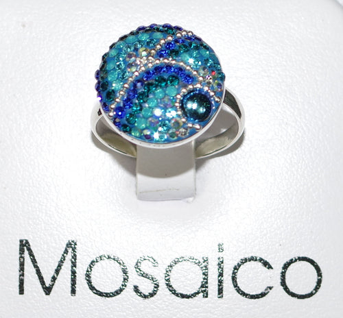 "MOSAICO RING PR-8608-C: multi color Austrian crystals in 3/4"" solid silver adjustable setting"