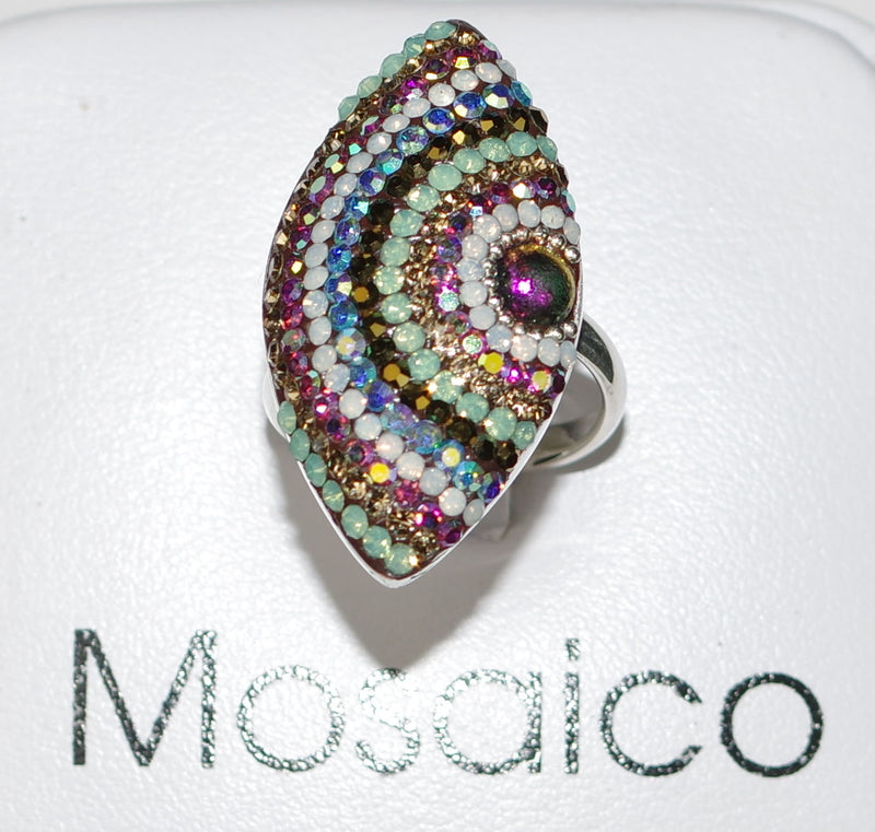 "MOSAICO RING PR-8616-J: multi color Austrian crystals in 1.25"" solid silver adjustable setting"