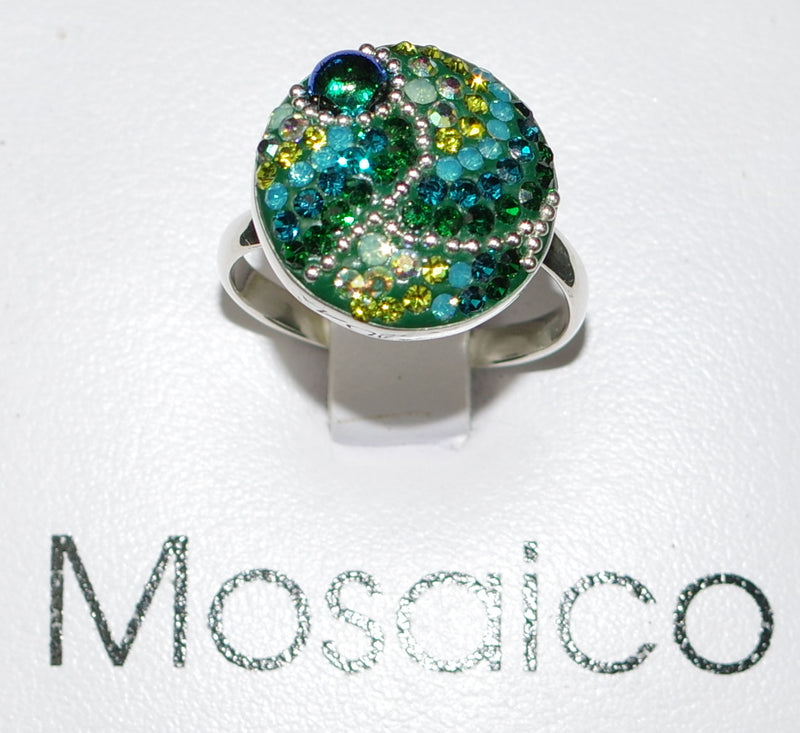 "MOSAICO RING PR-8608-E: multi color Austrian crystals in 3/4"" solid silver adjustable setting"