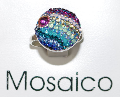 "MOSAICO RING PR-8608-A: multi color Austrian crystals in 3/4"" solid silver adjustable setting"