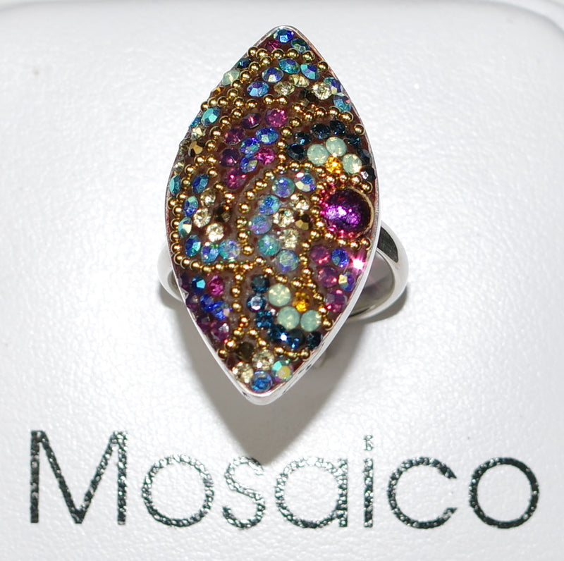 "MOSAICO RING PR-8616-K: multi color Austrian crystals in 1.25"" solid silver adjustable setting"