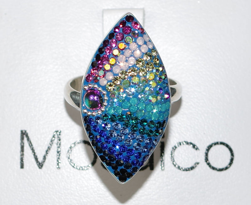 "MOSAICO RING PR-8616-A: multi color Austrian crystals in 1.25"" solid silver adjustable setting"