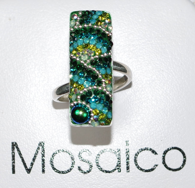 "MOSAICO RING PR-8606-E: multi color Austrian crystals in 1"" solid silver adjustable setting"
