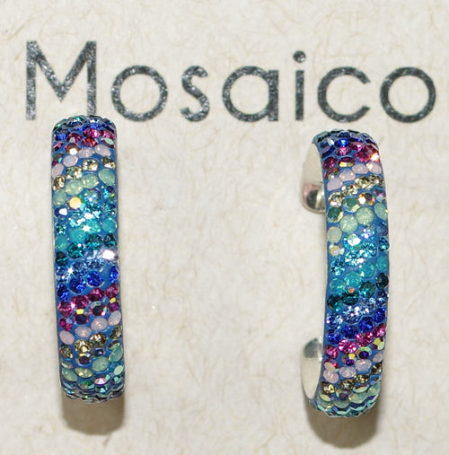 "MOSAICO EARRINGS PE-8323-A: multi color Austrians crystals in 1"" solid silver hoops setting, post backs"