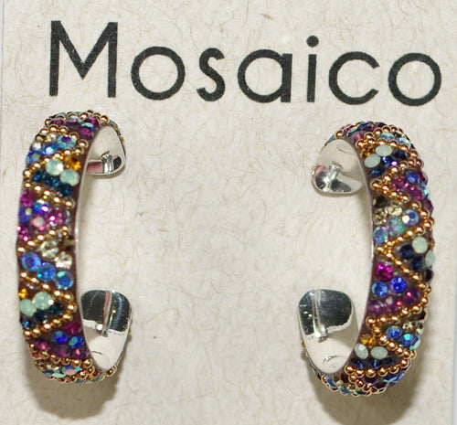 "MOSAICO EARRINGS PE-8323-K: multi color Austrians crystals in 1"" solid silver hoops setting, post backs"