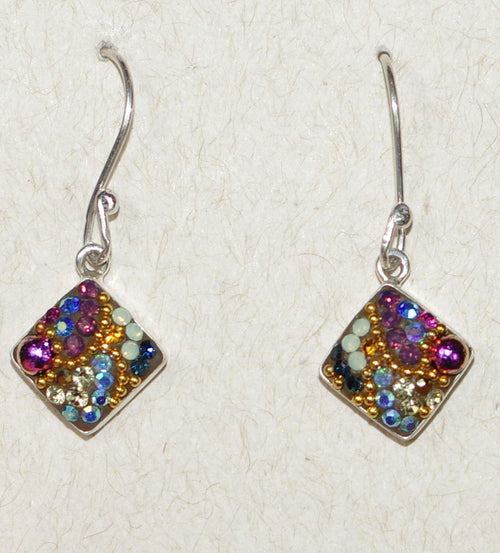 "MOSAICO EARRINGS PE-8122-K: multi color Austrians crystals in 1/2"" solid silver setting, french wire backs"