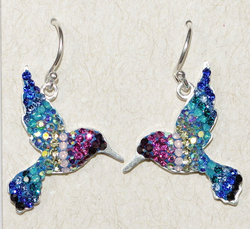 "MOSAICO EARRINGS PE-8117-A: multi color Austrians crystals in 7/8"" solid silver setting, french wire backs"