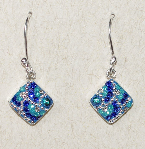 "MOSAICO EARRINGS PE-8122-C: multi color Austrians crystals in 1/2"" solid silver setting, french wire backs"