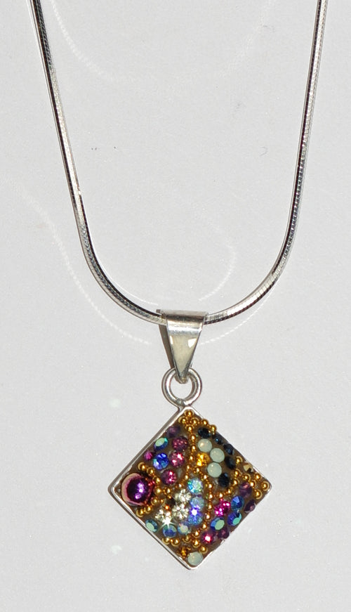 "MOSAICO PENDANT PP-8525-K: multi color Austrian crystals in 5/8"" solid silver pendant, 18-20 inch adjustable silver chain"