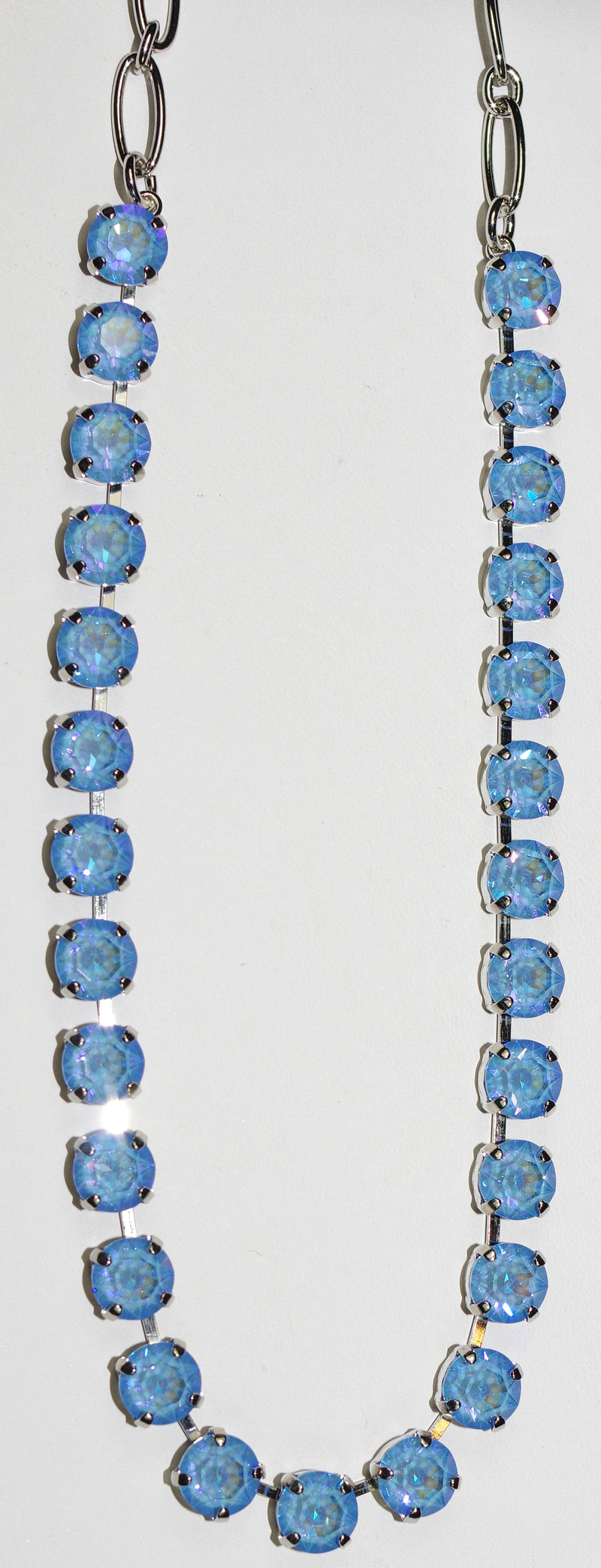 "MARIANA NECKLACE BETTE SUN KISSED BLUE: ultra blue 1/4"" stones in rhodium setting, 17"" adjustable chain"