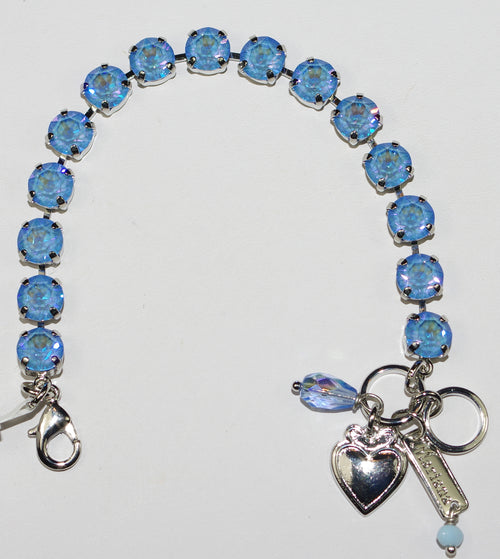 "MARIANA BRACELET BETTE SUN KISSED BLUE: ultra blue 1/4"" stones in silver rhodium setting"