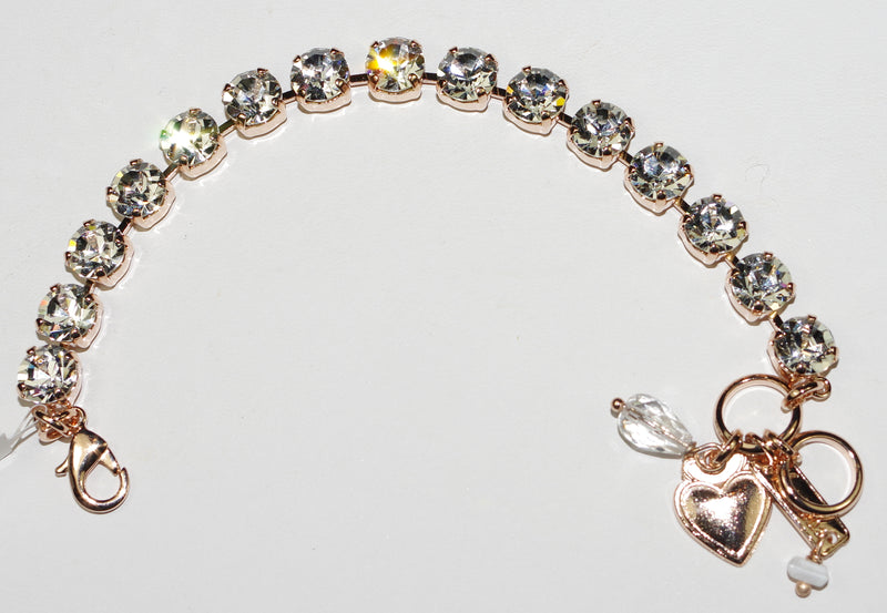 "MARIANA BRACELET BETTE ON A CLEAR DAY: clear 1/4"" stones in rose gold setting"