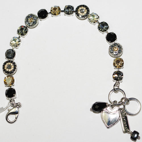 MARIANA  BRACELET BLACK ORCHID: black, clear, gray, amber stones in rhodium setting