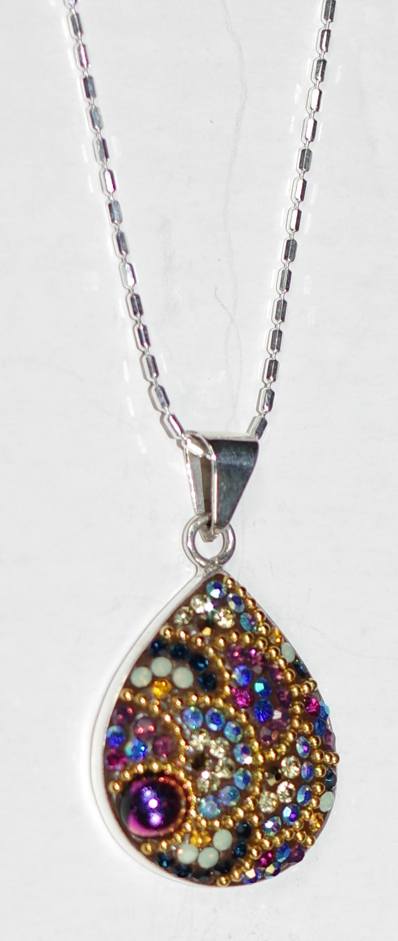 "MOSAICO PENDANT PP-8564-K: multi color Austrian crystals in 1"" solid silver pendant, 18 inch silver chain"