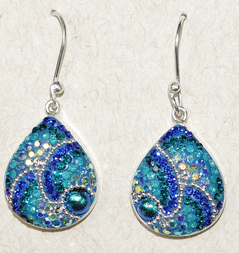 "MOSAICO EARRINGS PE-8182-C: multi color Austrians crystals in 3/4"" solid silver setting, french wire backs"