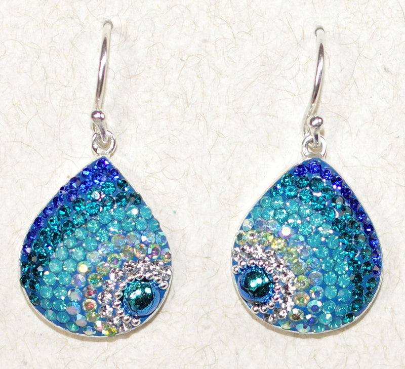 "MOSAICO EARRINGS PE-8182-D: multi color Austrians crystals in 3/4"" solid silver setting, french wire backs"