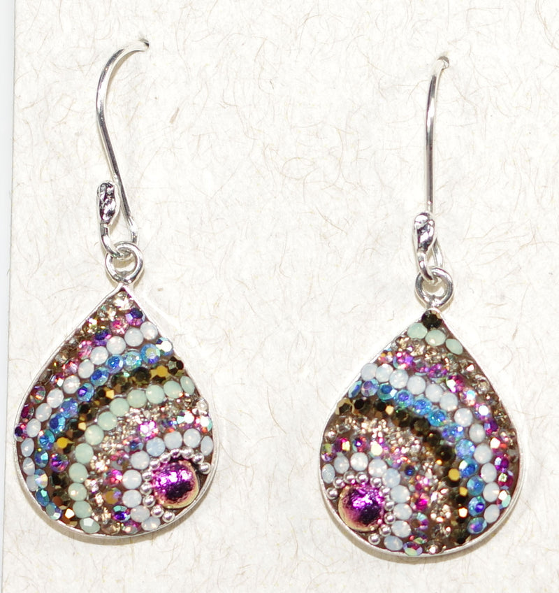 "MOSAICO EARRINGS PE-8182-J: multi color Austrians crystals in 3/4"" solid silver setting, french wire backs"